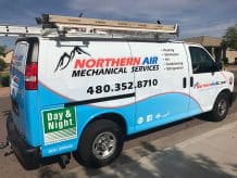 Northern Air work van in San Tan Village