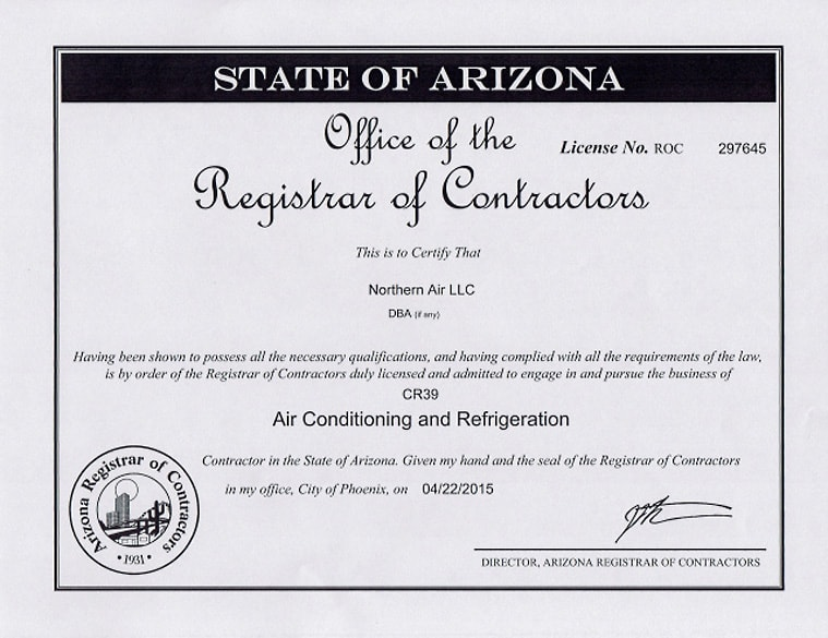 License No. ROC 297645, Northern Air, San Tan Valley, AZ