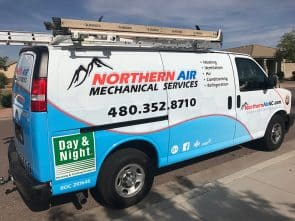Northern Air work van in San Tan Village